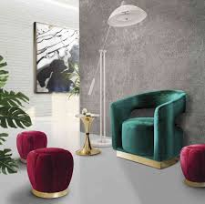 Velvet for furniture is another trend to be on the lookout for. Courtesy  Essential Home
