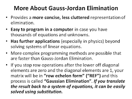 more about gauss jordan elimination