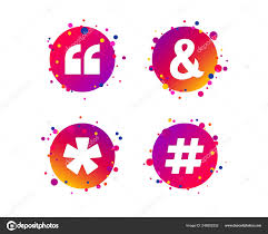 Quote Asterisk Footnote Icons Hashtag Social Media Ampersand Symbols
