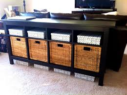 sofa table with storage ikea. Divine Best Sofa Table Storage Ideas Beautiful Homes Treasures White Baskets With Hemnes Espresso Ikea Black Drawers And Wicker Behind Winsome Console Sospoliciais