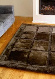 geometric squares designer luxury sheepskin rug