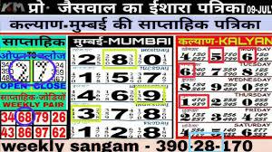 Mumbai Patti Chart 16 07 2018 Kalyan Weekly Chart Kalyan Open Today Kalyan