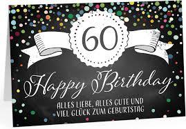 Geburtstag, gedichte, verse und textvorlagen für geburtstagskarten und ideen herzlich willkommen auf unserem portal rund um den 60. Grosse Gluckwunsch Gruss Karte 60 Geburtstag Design A4 Xxl Umschlag Edel Modern Ebay