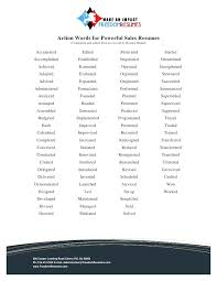 words not to use on a resume action words for successful sales resumes  resume words for