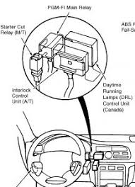 1996 honda accord only 9v on starter signal wire starter cut relay m t under dash left side of center console see fig 2 i don t have a part but if you remove the old relay it will have part