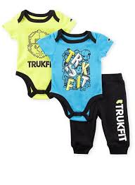 Baby Boy Trukfit Three Piece Bodysuits And Joggers Set