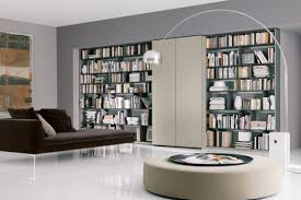 ... Home Decor, Modern Home Library Building A Home Library Round Table  With Unique Lamp And ...