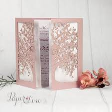 personalised laser cut tree wedding invitation day evening Amazon Laser Cut Wedding Invitation personalised laser cut tree wedding invitation day evening gatefold with envelopes sample gold purple navy pink Laser-Cut Wedding Invitation Template