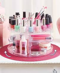 rotating cosmetic carousel spinning makeup organizer rack display case holder