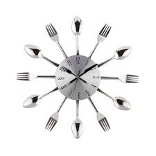 Kitchen Wall Clocks Modern Cool Stylish Modern Design Wall Clock Silver Kitchen Cutlery