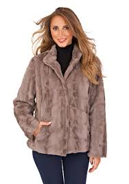 womens las full faux fur coat short mid
