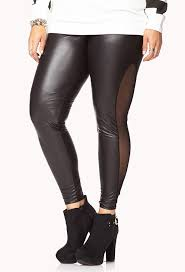 mesh trimmed faux leather leggings black leather leggings by forever 21