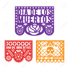 Papel Picado Designs For Day Of The Dead Papel Picado Mexican Paper Decoration For Dia De Los Muertos