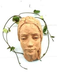 garden planters with faces head planter pots girl face sculpture red terracotta wall how to make concrete for your pl