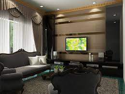 Small Picture Tv Feature Wall DesignThe strips of mirrors erases the bare look