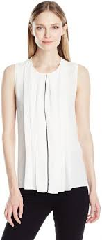 Ellen Tracy Womens Contrast Piped Pleat Front Shell Cream M