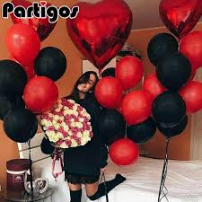 20pcs/lot Red <b>Black Latex</b> Balloons <b>5pcs</b> 18inch Red Foil Heart ...