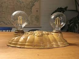 vintage cast iron art deco flush mount ceiling light fixture double socket