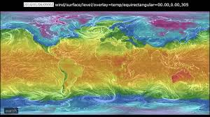 surface wind and temperature map from the global