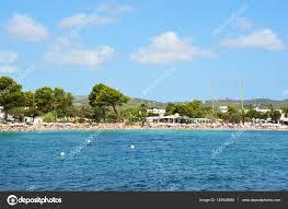 spectacular view of es canar beach ibiza island beach with crystalline water natural paradisiac scenery des canar ibiza island spain holidays summer