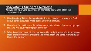 body rituals among the nacirema answer the following questions on 7 body rituals among the nacirema