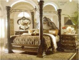 Margaux King Canopy Bedroom Set Leather Marbletop Image