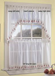 Red Swag Kitchen Curtains Amazoncom Apple Orchard Kitchen Curtain Swag Pr Home Kitchen