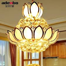 lotus pendant light lotus flower glass gold led crystal chandeliers lights ceiling pendant lamp for dining lotus pendant