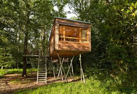 The Baumgeflster treehouse resort in Germany. Each treehouse has one  bedroom in 383 sq ft