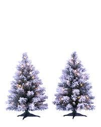Flocked Christmas Tree Snow Capped Mini Flocked Trees Treetopia