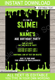 Slime Party Invitations Template Green