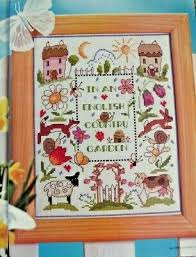 Flower Chart In English Sampler An English Country Garden Cottage Flowers Animals