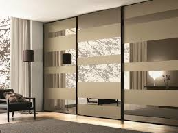 Mirrored Glass Wardrobe With Sliding Doors Mixed With Grey Carpet On  Laminated Floor With Mirrored Sliding Closet Doors For Bedrooms Also  Closets W ...