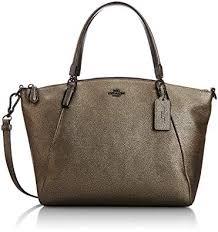 Coach Womens Kelsey Metallic Convertible Crossbody Handbag Gold Medium