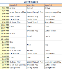 Daily Schedule The Learning Place Preschool