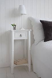 narrow white bedside tables new