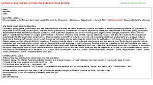 publications editor offer letter