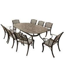 contemporary modern mesh lattice 9 piece bronze aluminum oval outdoor dining set with 8