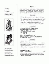 Art School Admissions Resume