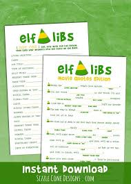 Elf Movie Quote Mad Lib - Holiday Party Game [Christmas Download #C100]