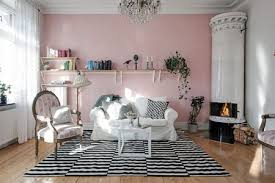 shabby chic living room with pink accent wall