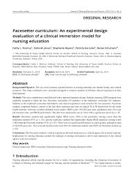Experimental Design In Nursing Research Pdf Pacesetter Curriculum An Experimental Design