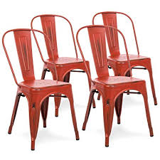 best choice s set of 4 distressed industrial metal dining side chairs red