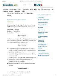 2 Logistics Executive Resume Samples Examples Download Now Pdf