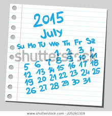 Calendar 2015 July Sketch Style Stock Vector Royalty Free