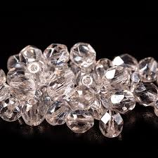 czech fire polished crystal beads with light silver coating 6 mm 40 pcs