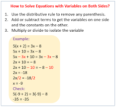 solving equations with variables on each side worksheet answers