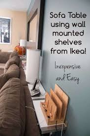 sofa table or console table using ikea ekby jarpen wall mounted shelves great for custom