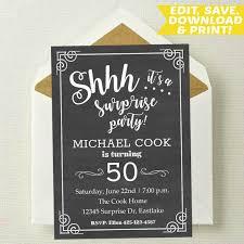 Editable Surprise Party Invitation Surprise Birthday Invitation Shhh Its A Surprise Surprise Invite Surprise Template 4x6 5x7