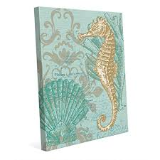 damask seahorse light green seahorse scallop seashell and coral victorian vintage nautical line drawing on on seafoam green canvas wall art with amazon damask seahorse light green seahorse scallop seashell